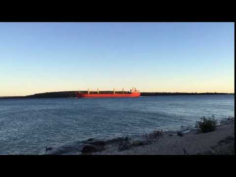 Time lapse of laker near Straits of Mackinac Michigan