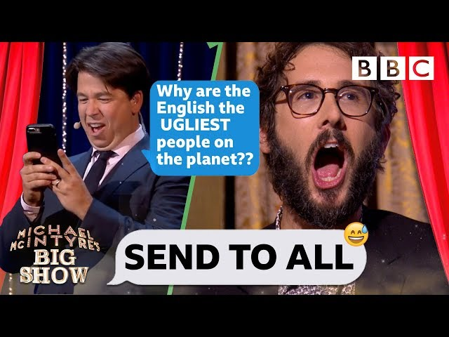 Josh Groban CRINGING with embarassment 😳😂 as Michael steals his phone to TRASH the UK - Send To All