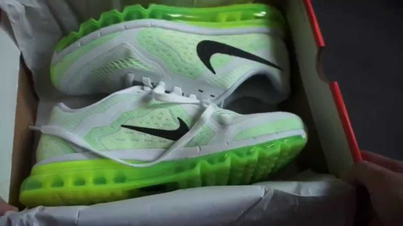 44ca86019dd7 NIKE AIR MAX 2014 Running Shoe - (white   electric green   black) -  unboxing   on feet review - YouTube