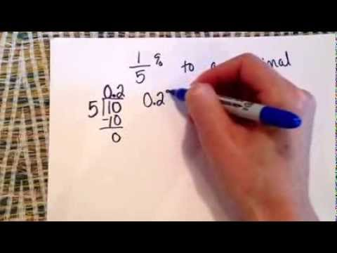 1/5% to a decimal - YouTube