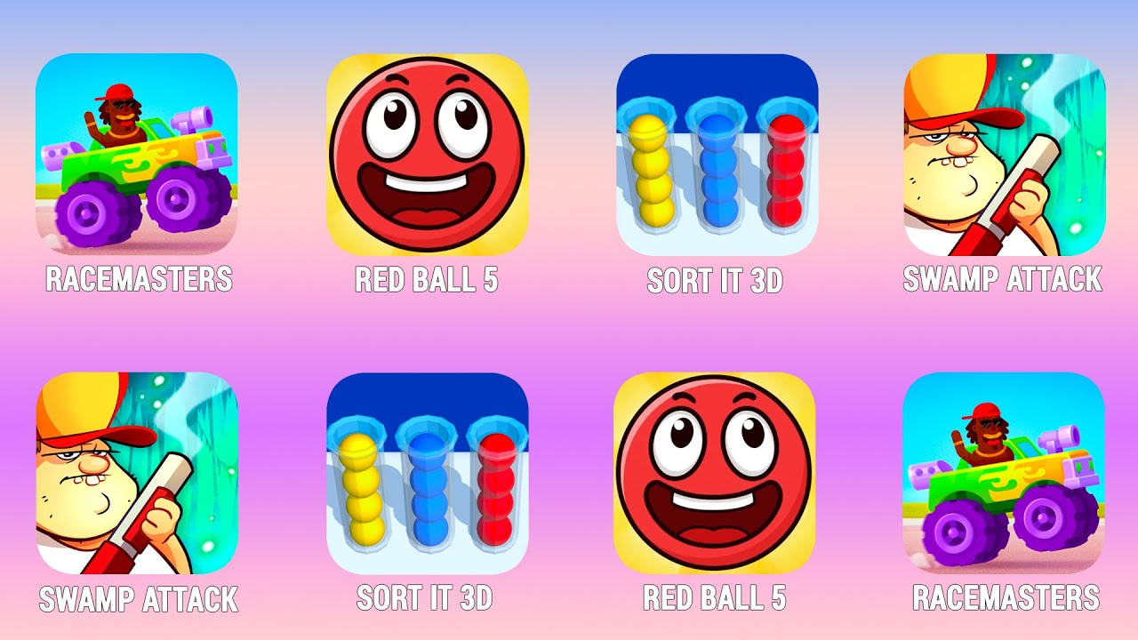 RACEMASTERS, Red Ball 5, Sort It 3D, Swamp Attack, Walkthrough (iOs, Android) | Power of Gameplay