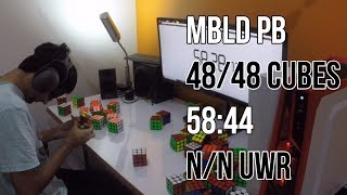 [Over WR] MBLD PB 48/48 Cubes in 58:44! (35:11)