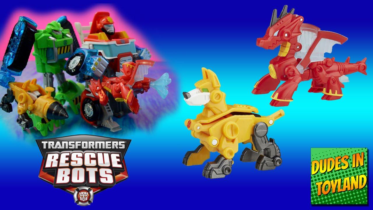 Transformers Rescue Bots toys Rescue Mini Con Friends Servo dog Drake the  dragon toy videos for kids