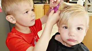 ✂YOU CUT CANYON'S  HAIR? | BOY CUTS BROTHER'S HAIR!!