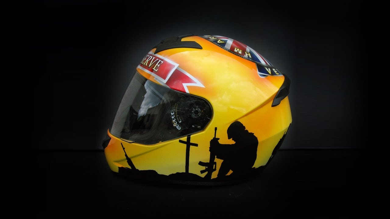 Download England patriotic theme painted on motorcycle helmet using airbrush aerograf art