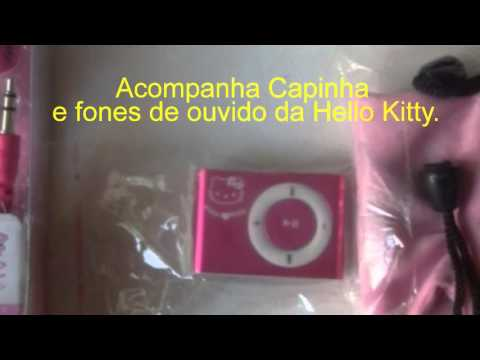 Mp3 Player Clip Pink - Hello Kitty + Capa + Fone + 4GB + Frete Grátis