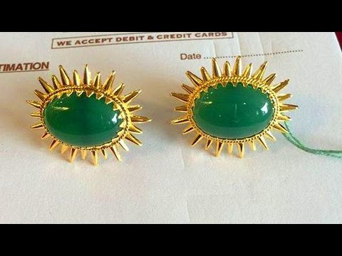 Light Weight Gold And Emerald Earrings Designs