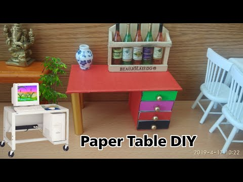 How to make a paper table with drawer | Origami - Desk & drawer | DIY paper furniture