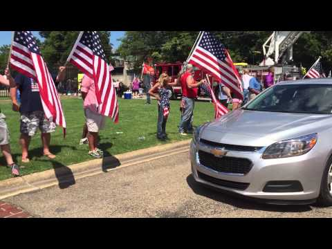 Chattanooga Marine SSGT David Wyatt full procession, Chattanooga National Cemetery gate July 24 2015