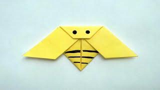 Пчела. Оригами без клея и ножниц. Простые поделки из бумаги для начинающих.