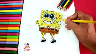 Cómo dibujar y colorear a BOB ESPONJA | How to draw SpongeBob SquarePants