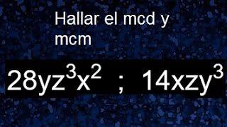 Mínimo común múltiplo de monomios y máximo común divisor de monomios