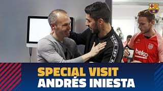 Andrés Iniesta pays a visit to Barça training session