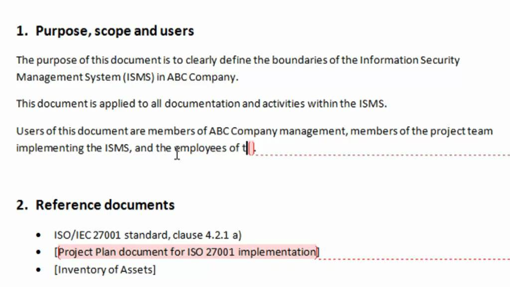 Filling in the template | How to Define and Document the ISMS ...