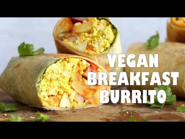 VEGAN BREAKFAST BURRITO With Tofu Scramble, Spiced Potatoes, Chickpea Pancake | Vegan Richa Recipes