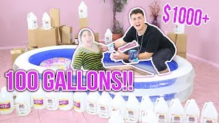 CLEAR JIGGLY SLIME BATH CHALLENGE OVER $1000! | 100 GALLONS OF Clear slime | Slimeatory