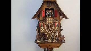 """Schneider Chalet Cuckoo Clock With Wood Chopper And Children 14"""""""