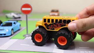 Мультик про машинки - 173 серия: Гоночная машина, Полицейская машина, Авария, Дорожный знак