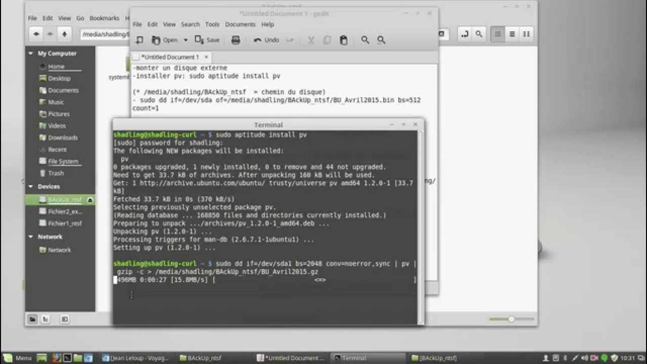 back up dd linux mint 17 - YouTube