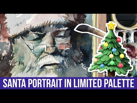 Painting Santa Claus in Limited Palette | Full Watercolor Process