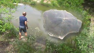 Рыба есть голода не будет Обходим рыбные места Рыбалка КАСТИНГОВОЙ сетью