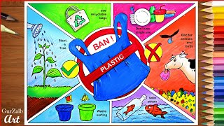 How To Draw Stop Plastic Pollution Drawing    Poster Chart Project Making Ideas - Ban Plastic