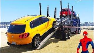 スパイダーマンディズニー車雷マグネット輸送ジープ車(子供のための保...