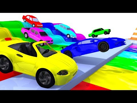 Colors with Street Vehicles – Colors with Paints Trucks – Colors for Children – OFFICIAL LIVE