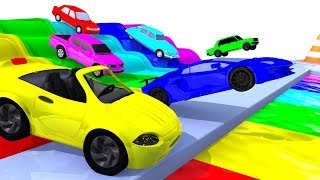 Colors with Street Vehicles - Colors with Paints Trucks - Colors for Children - OFFICIAL LIVE