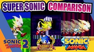 Sonic Mania, Sonic 2 and Sonic 3 (Super Sonic) Side by Side Comparison