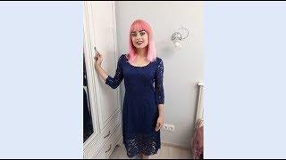 Обзор гипюрового платья глубокого синего цвета