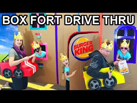 Parents Driving Cardboard Box Cars to Burger King Drive Thru Box Fort (Gone Wrong)