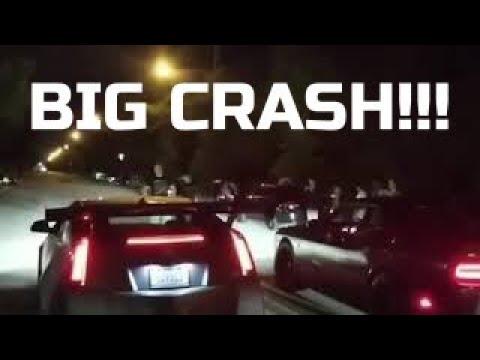 Street race and crash | CTS-V vs. Hellcat