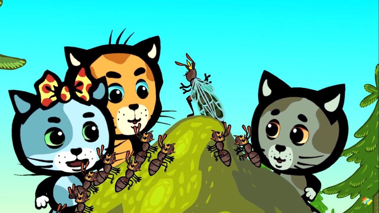 Развивающие и обучающие мультики — Три котенка: Работяги малыши — Теремок песенки для детей