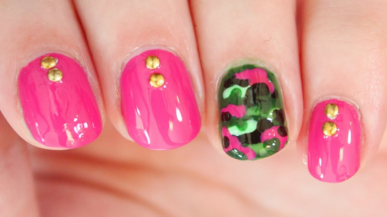 Hot Pink Camo Nail Art Youtube