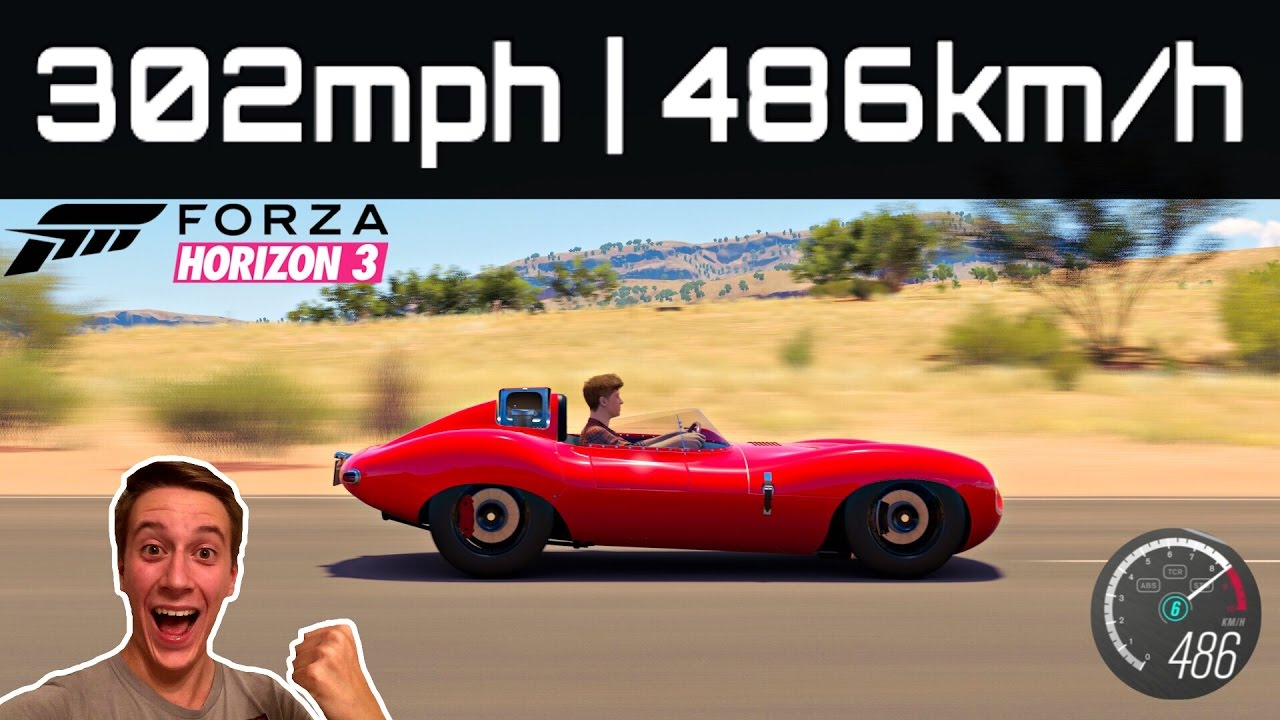 Driving 302mph 486kmh fastest car in forza horizon 3 build tune youtube