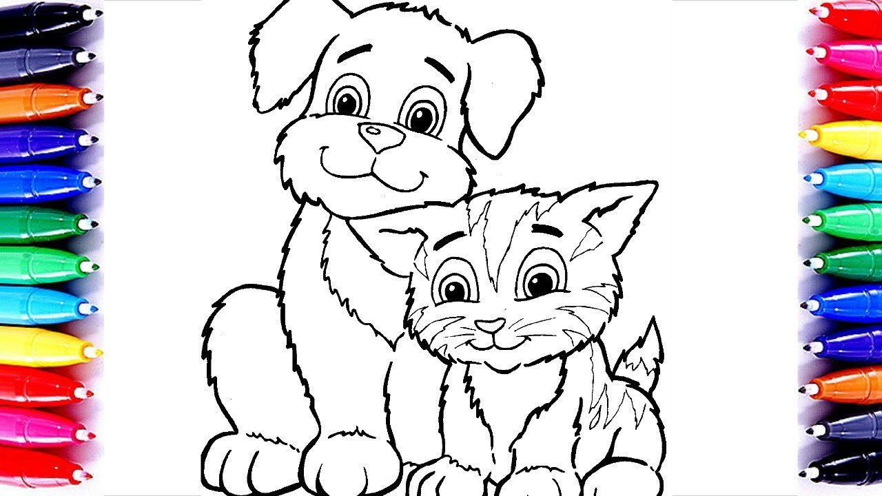 Dog And Cat Coloring Page Learn Color For Kids Barbie Coloring