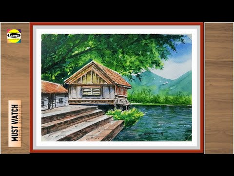 Easy Watercolor Painting ideas for Beginners step by step // Beautiful landscape painting
