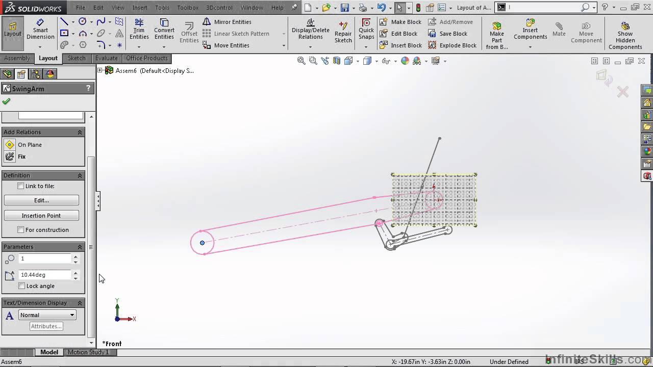 SolidWorks - Kinematics Tutorial | Layout Sketch Blocks ...
