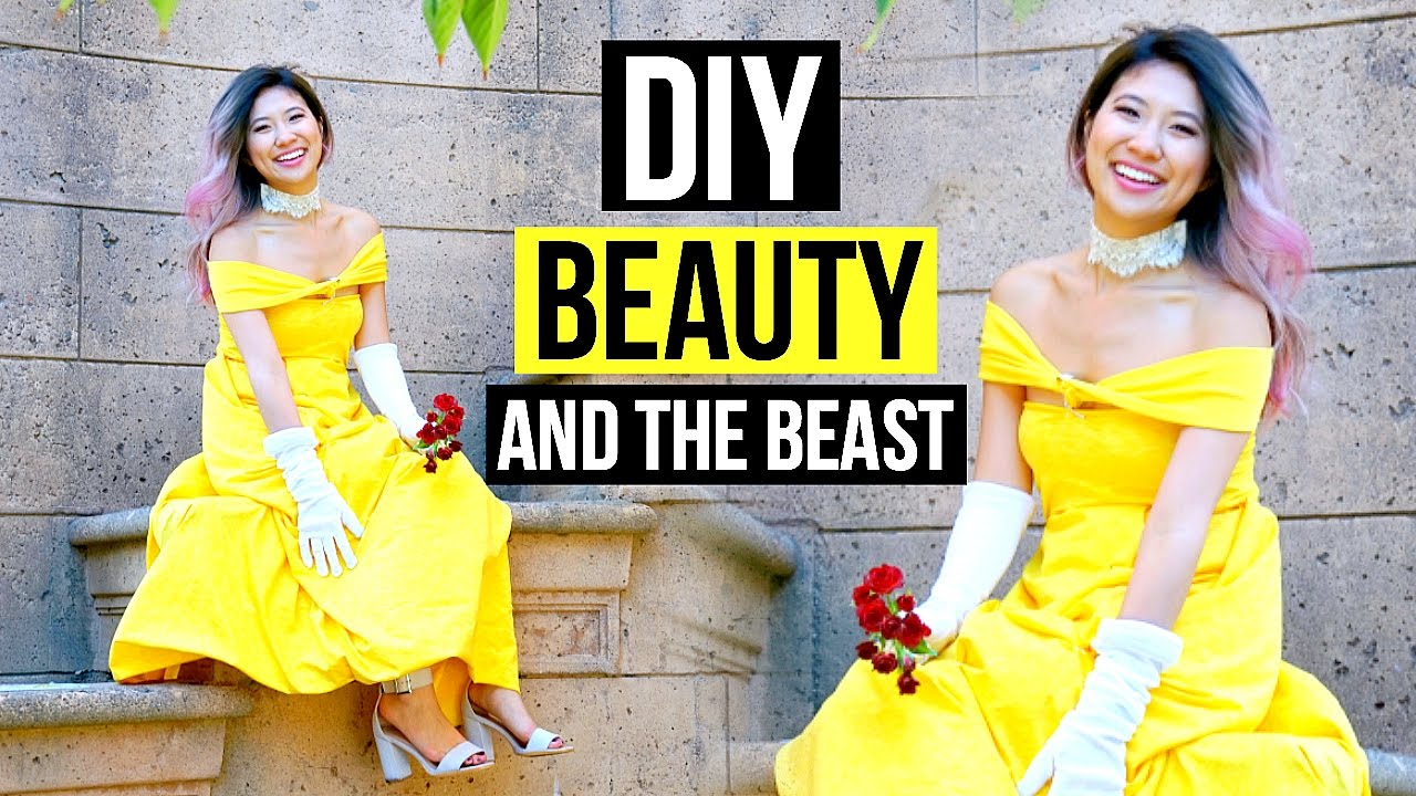 diy beauty and the beast costume makeup tutorial youtube
