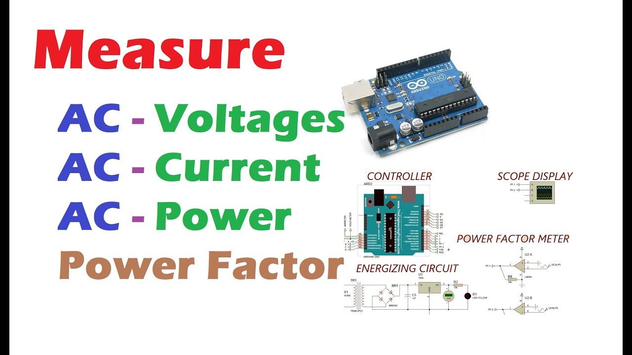 Measure AC voltages | AC current | AC Power | Power Factor using Arduino