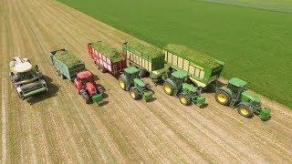 Usługi Rolnicze Michalski. Zbiór traw sieczkarnią na dużą skale. 6x John Deere, Krone BIGX!
