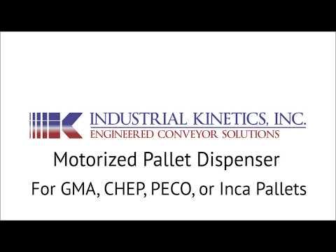 Motorized Pallet Dispenser for GMA, CHEP, PECO, & Inca Style Pallets