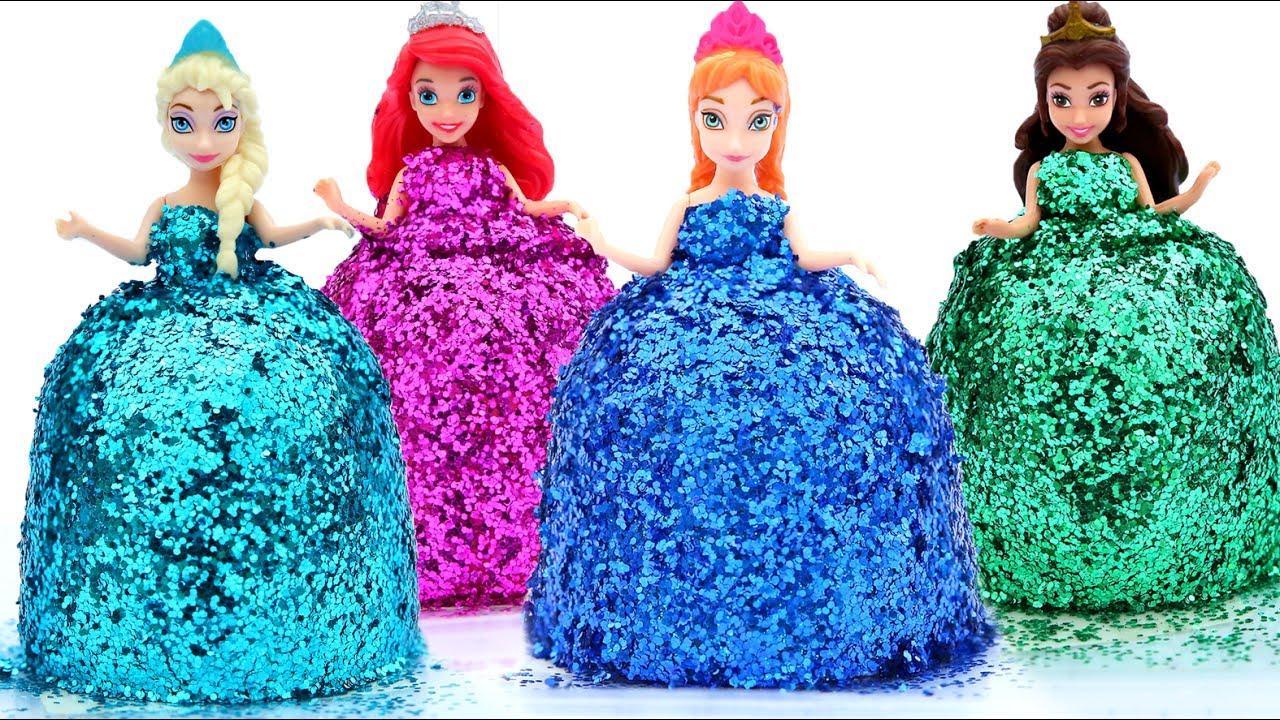 cd9aaf9acb0 DIY How Make Super Glitter Play Doh Disney Princess Dresses Frozen Elsa  Ariel Anna