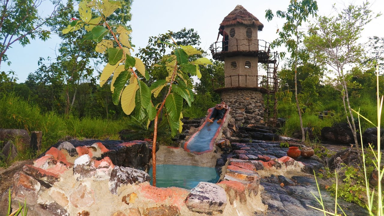 Build Three Story House And Build Stone Swimming Pool With Stone Water Slide  (full video)