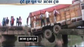 Loaded Truck Get Stuck on Collapsed Bridge in Aligarh