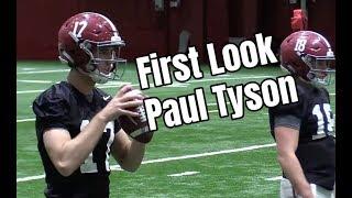Paul Tyson's first practice as a member of the Alabama Crimson Tide football team