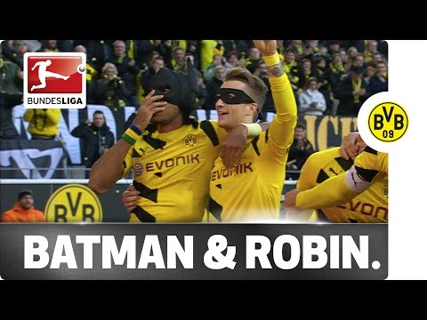 Aubameyang & Reus Celebrate as Batman & Robin