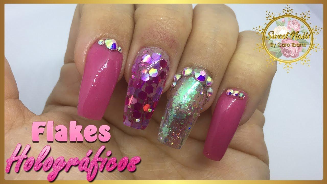 Encantador Holográficas Uñas De Color Rosa Inspiración - Ideas de ...