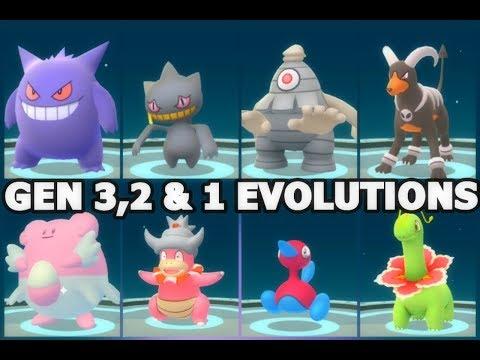 POKEMON GO GEN 3, 2 & 1 EVOLUTIONS DUSCLOPS, BANETTE, BLISSEY, PORYGON 2, GENGAR, SLOWKING & MORE